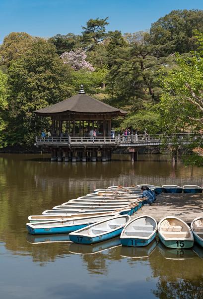 Ukimido Gazebo Pavilion on Sagiike Pond, Nara Park, Japan