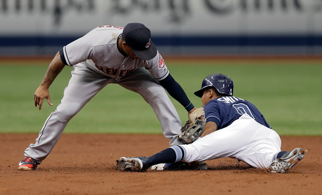 . Tampa Bay Rays\' Mallex Smith, right, steals second base ahead of the tag by Cleveland Indians second baseman Jose Ramirez during the third inning of a baseball game Wednesday, Sept. 12, 2018, in St. Petersburg, Fla. (AP Photo/Chris O\'Meara)