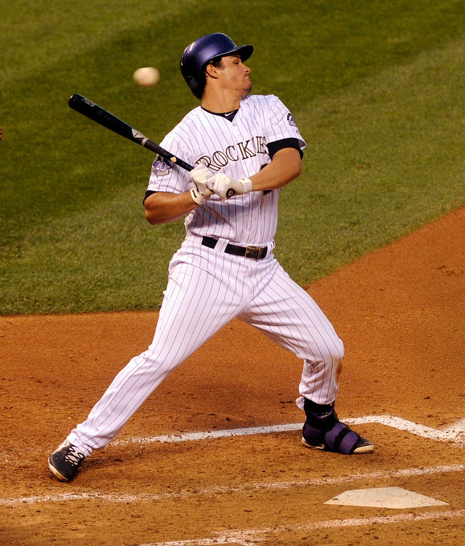 . DENVER, CO. - AUGUST 09: Colorado batter Nolan Arenado leaned back from an inside pitch in the second inning. The Colorado Rockies hosted the Pittsburgh Pirates Friday night, August 9, 2013. Photo By Karl Gehring/The Denver Post