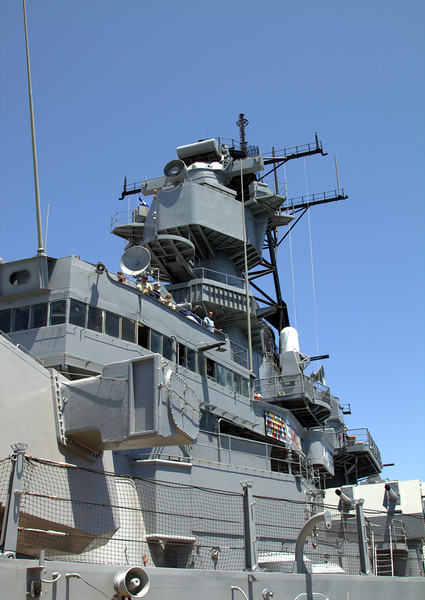 Looking up at the USS Iowa tower. The second turret is to the left, which was blown apart in the 1989 explosion.