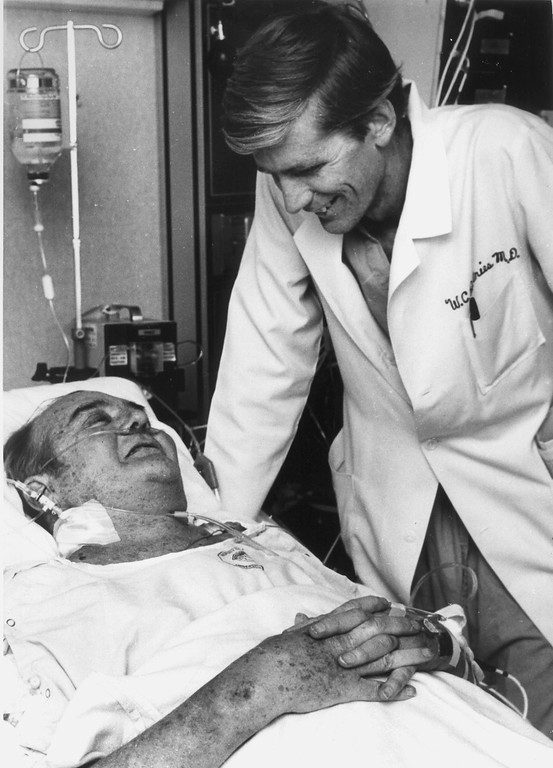 . Artificial heart recipiant Barney B. Clark smiles at his surgeon, Dr. William DeVries in 1982. Devries is an Eagle Scout. (AP-Photo/fma/nelson Uof U)