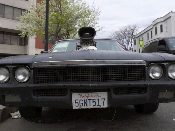 This is the Medusa car from the film, Bellflower, which played at the Independent Film Festival of Boston 2011. The Cinematographer, Evan Glodell, gave us a demo of the car's hottest feature.