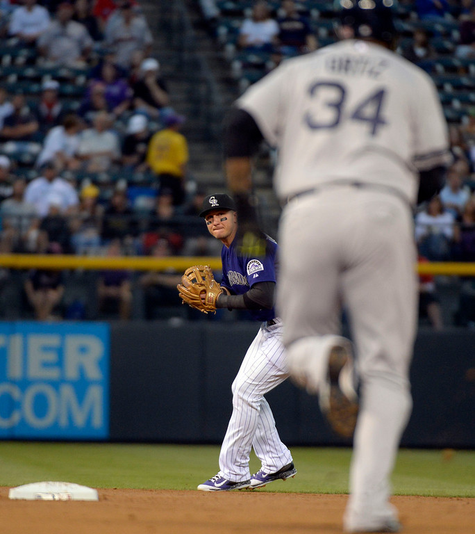 . DENVER, CO. - SEPTEMBER 24: Troy Tulowitzki (2) of the Colorado Rockies looks to throw over to first base for a double play getting the force on David Ortiz (34) of the Boston Red Sox during the first inning September 24, 2013 at Coors Field. (Photo by John Leyba/The Denver Post)