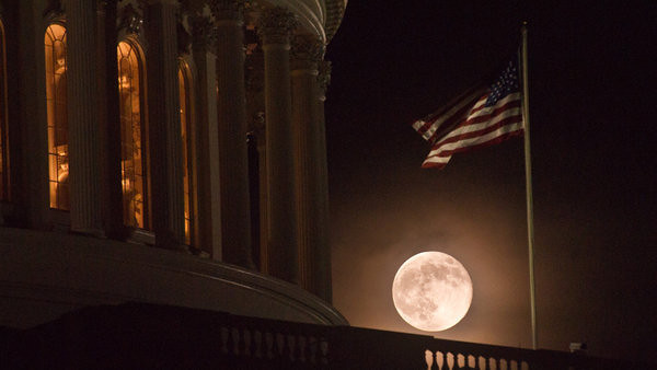 Supermoon, the first FULL day of summer, June 22, 2013.  U.S. Capitol, Washington, DC.