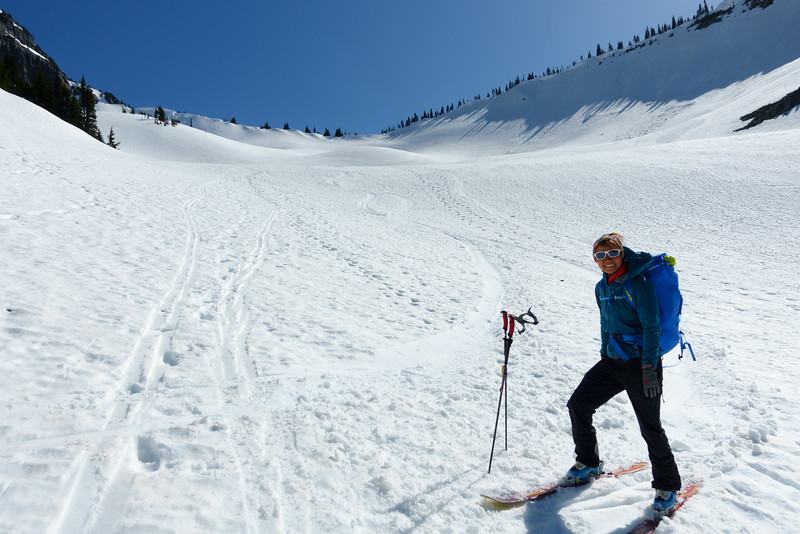 The snow was SUPER FUN to ski on here!