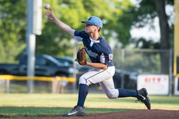 07/08/19 Wesley Bunnell | Staff Forrestville vs Southington North Little League baseball at Recreation Park in Southington on Monday July 8, 2019. Aiden Halpin (8).