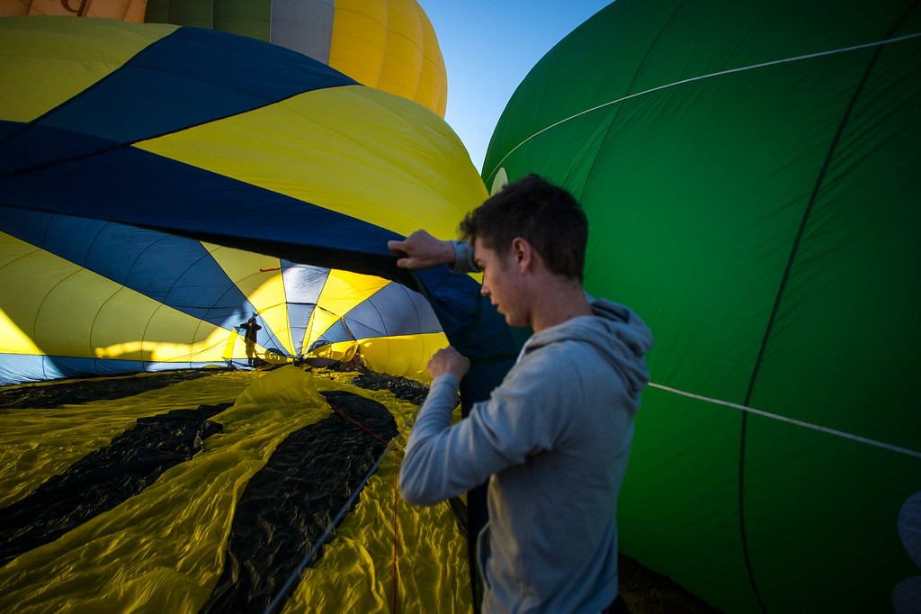 . A hot air balloon is inflated at the European Balloon Festival on July 10, 2014 in Igualada, Spain.   (Photo by David Ramos/Getty Images)