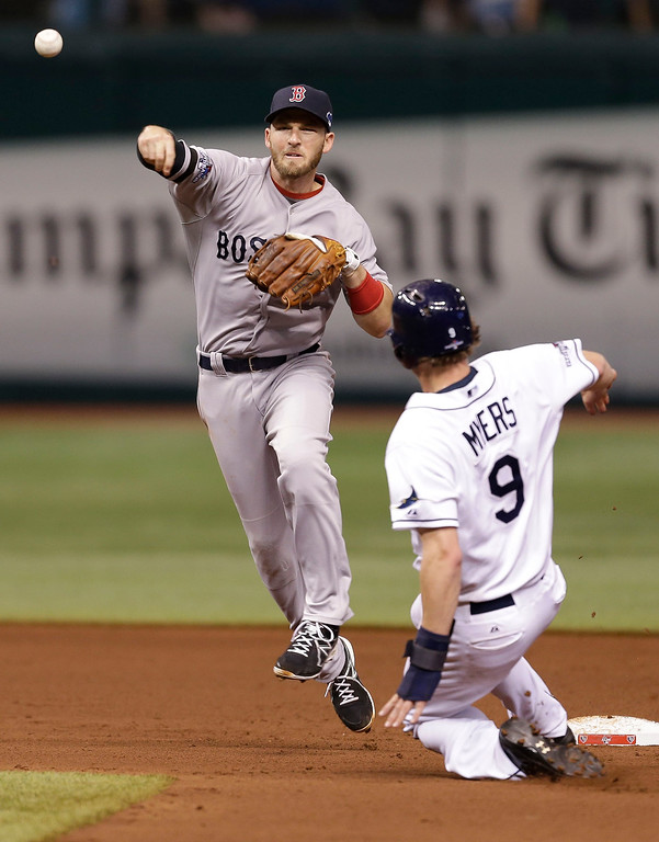 . Boston Red Sox shortstop Stephen Drew throws to first base for the double play after forcing out Tampa Bay Rays Wil Myers (9) out in the fourth inning in Game 4 of an American League baseball division series, Tuesday, Oct. 8, 2013, in St. Petersburg, Fla. James Loney was out at first. (AP Photo/Chris O\'Meara)
