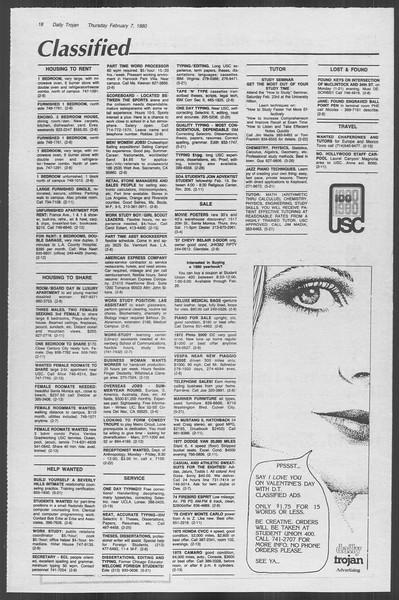 Daily Trojan, Vol. 88, No. 4, February 07, 1980