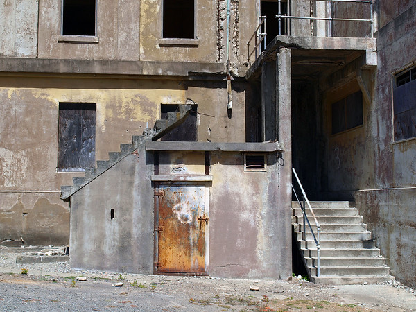 Stairs to nowhere: Old building on Angel Island, SF Bay