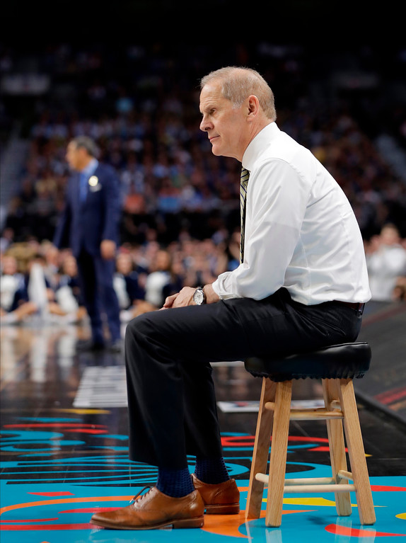 . Michigan head coach John Beilein watches his players during the second half in the championship game of the Final Four NCAA college basketball tournament against Villanova, Monday, April 2, 2018, in San Antonio. (AP Photo/Eric Gay)
