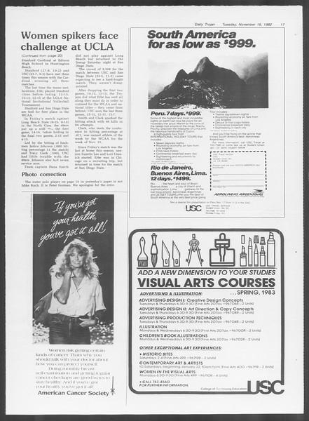 Daily Trojan, Vol. 92, No. 50, November 16, 1982