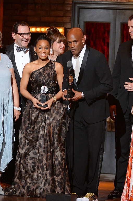 . Director Kenny Leon (R) speaks onstage with the cast of \'A Raisin In The Sun\'  speaks onstage during the 68th Annual Tony Awards at Radio City Music Hall on June 8, 2014 in New York City.  (Photo by Theo Wargo/Getty Images for Tony Awards Productions)