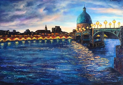 """Evening Toulouse"" (oil on canvas) by Victoria Beki"