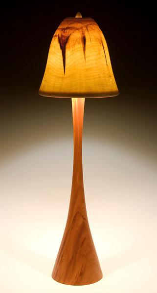 Flute Floor Lamp with Clear Bell Shade