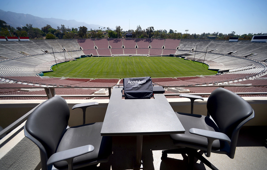 . Premium seating in the newly restored Rose Bowl press box is seen Thursday, June 20, 2013 in advance of the historic stadium\'s first public tours, which begin Saturday. (SGVN/Staff Photo by Sarah Reingewirtz)