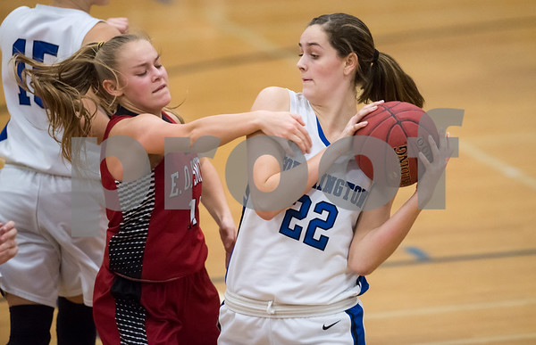 02/15/18 Wesley Bunnell | Staff Southington girls basketball defeated E.O. Smith 68-51 Thursday night at Southington High School in a CCC Tournament contest. Kelley Marshall (22).