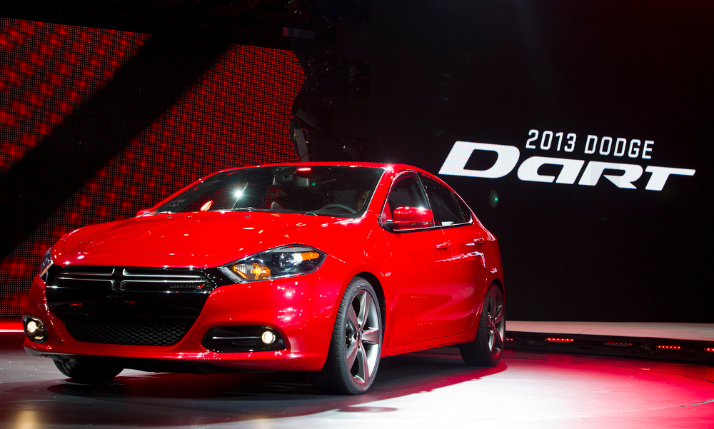 . FILE - In this Monday, Jan. 9, 2012, file photo, the 2013 Dodge Dart is unveiled at the North American International Auto Show, in Detroit, Mich. The Dart, unveiled with much fanfare at last yearís Detroit auto show, got off to a slow start after going on sale in May 2012. Only 25,000 have sold, which CEO Sergio Marchionne concedes is short of his expectations. (AP Photo/Tony Ding, file)