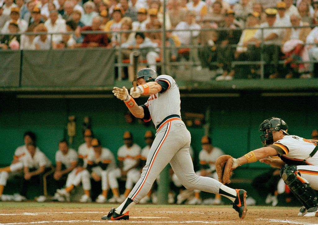 . Detroit Tigers catcher Lance Parrish bats against the San Diego Padres at Jack Murphy Stadium in San Diego during the 1984 World Series, Oct. 9, 1984. (AP Photo)