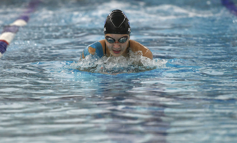 10/4/2017 Mike Orazzi | Staff Southington's  Julie Duszak during Wednesday's swim meet with Hall in Southington.