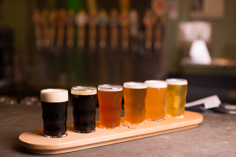A craft beer tasting flight.. Editorial credit: VDB Photos / Shutterstock.com