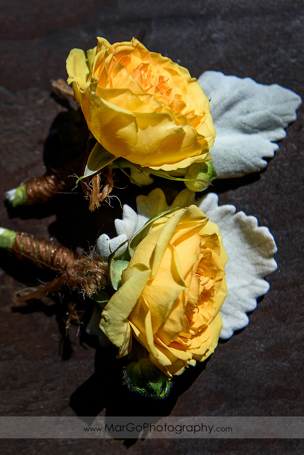 yellow rose wedding boutonniere at the Club at Ruby Hill in Pleasanton