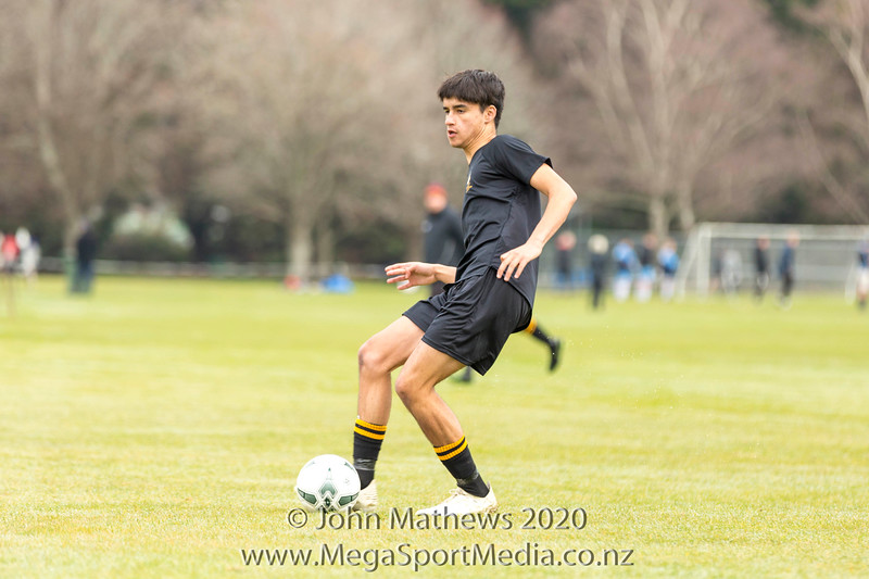 Images taken of the traditional football clash between St Patrick's College Silverstream (Blue) and Wellington Boys College (Black) played at at Patrick's College Silverstream, Wellington, New Zealand on Saturday 1 August 2020. Score: Stream 3 - Wgtn College 1 Copyright John Mathews 2020 www.megasportmedia.co.nz