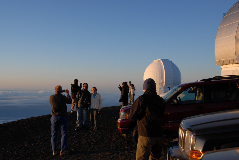 Tourists near the telescope on top of Mauna Kea, Hawaii