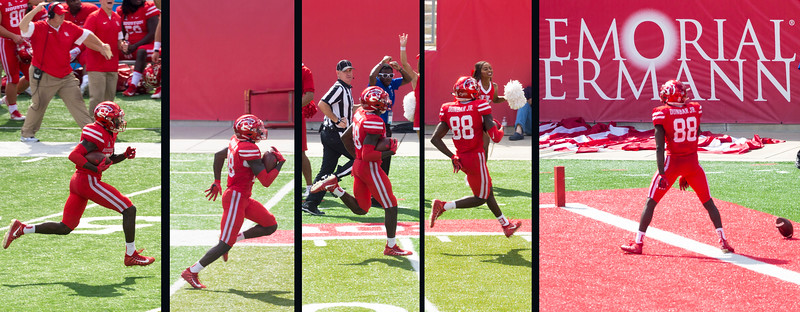 Dunbar, 74 yards for a UH touchdown.   Now UH 35, EU 17.