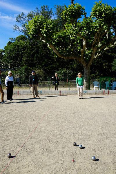 Rebecca playing Petanque at Fanny Petanque