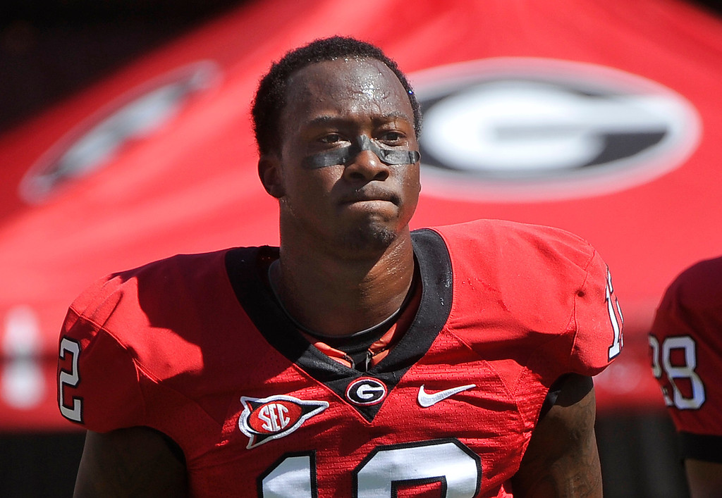 . Georgia flanker Tavarres King waits to take on South Carolina before the start of a NCAA college football game, Saturday, Sept. 10,  2011, in Athens, Ga. (AP Photo/John Amis)