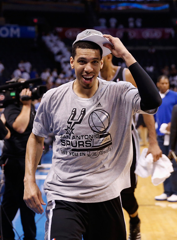. OKLAHOMA CITY, OK - MAY 31:  Danny Green #4 of the San Antonio Spurs celebrates after the Spurs defeated the Oklahoma City Thunder 112-107 in overtime during Game Six of the Western Conference Finals of the 2014 NBA Playoffs at Chesapeake Energy Arena on May 31, 2014 in Oklahoma City, Oklahoma. (Photo by Ronald Martinez/Getty Images)