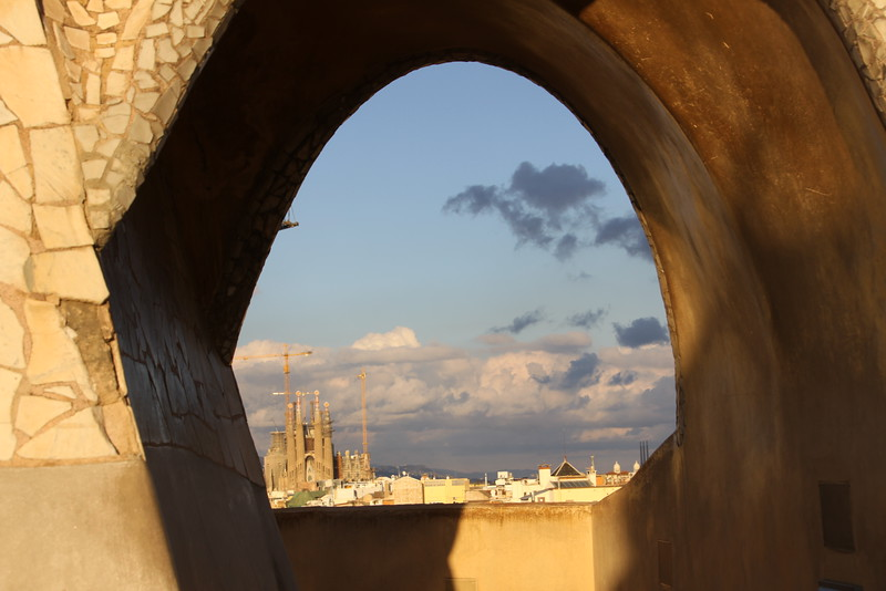 Sagrada Familia from Casa Mila roof