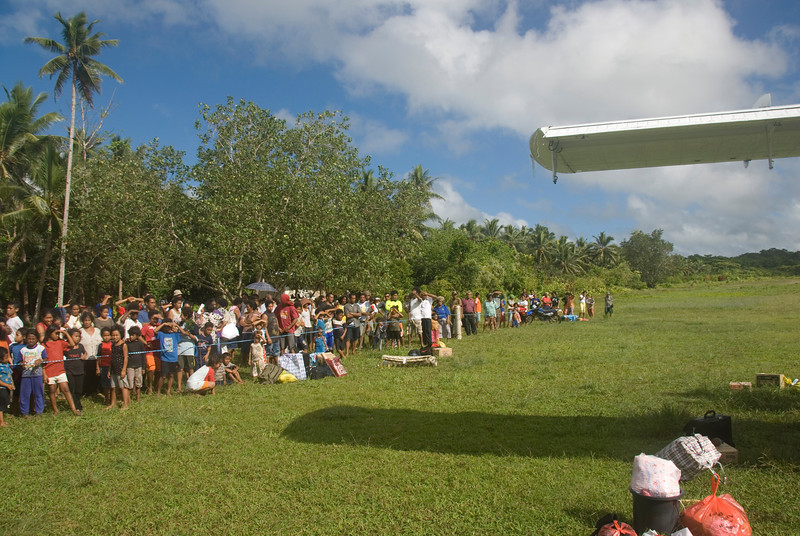 Crowd Waiting for Plane, Rennell Island - Solomon Islands
