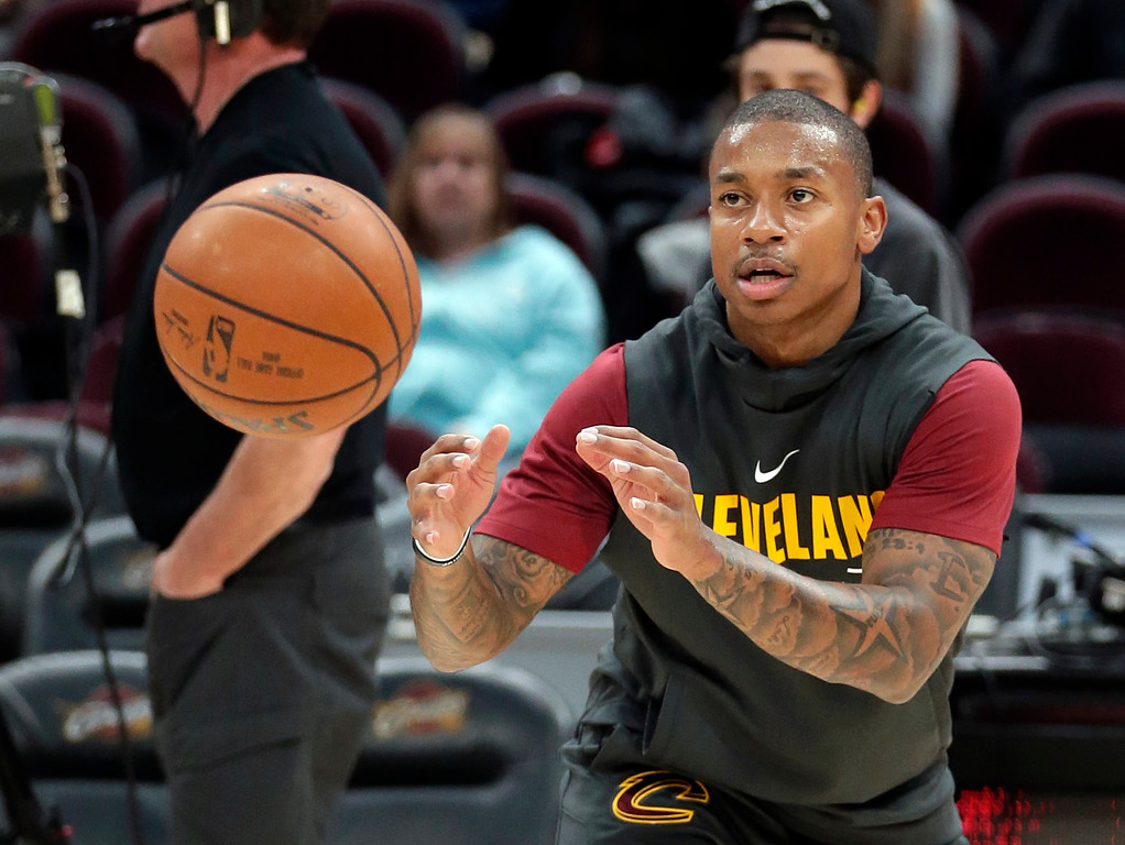 . Cleveland Cavaliers\' Isaiah Thomas catches a pass before the team\'s NBA basketball game against the Brooklyn Nets on Wednesday, Nov. 22, 2017, in Cleveland. (AP Photo/Tony Dejak)