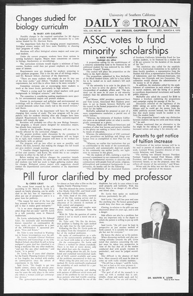 Daily Trojan, Vol. 61, No. 85, March 04, 1970