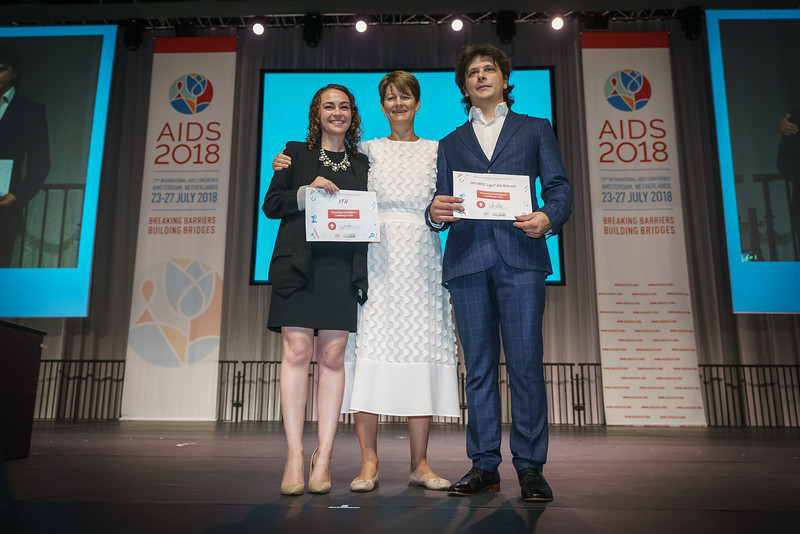 22nd International AIDS Conference (AIDS 2018) Amsterdam, Netherlands.   Copyright: Matthijs Immink/IAS Building bridges from scientific innovation to implementation Photo shows: Deborah Waterhouse prize winners
