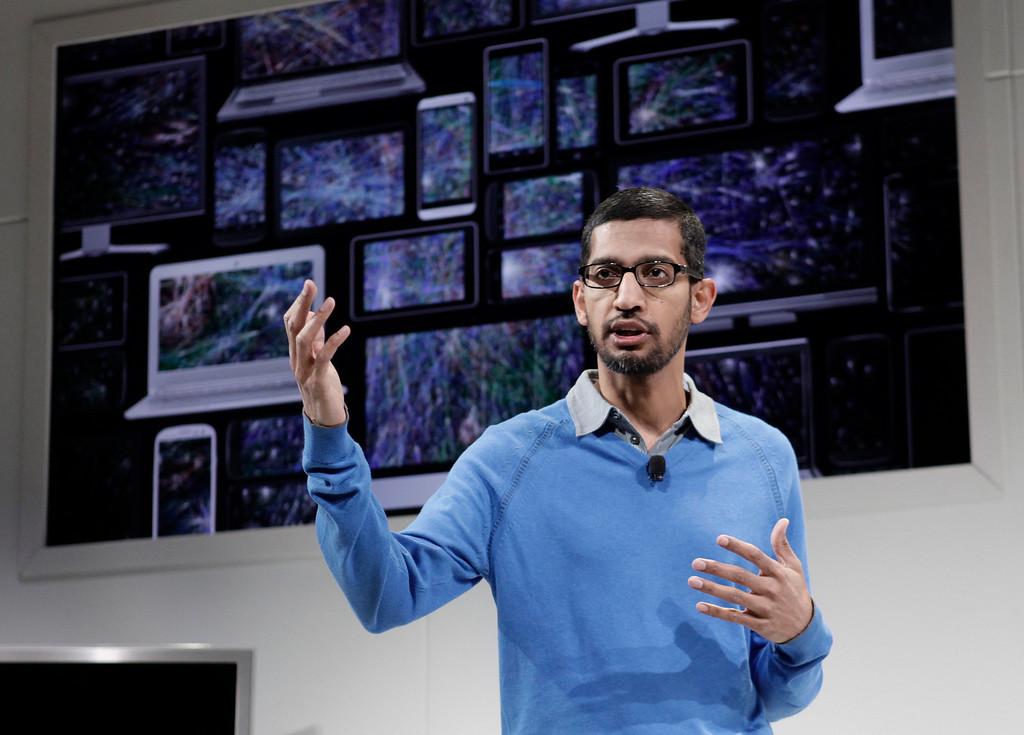. Sundar Pichai, Google senior vice president in charge of Android and Chrome, introduces new products at Dogpatch Studios in San Francisco, Calif. on Wednesday, July 24, 2013.  (Gary Reyes/Bay Area News Group)