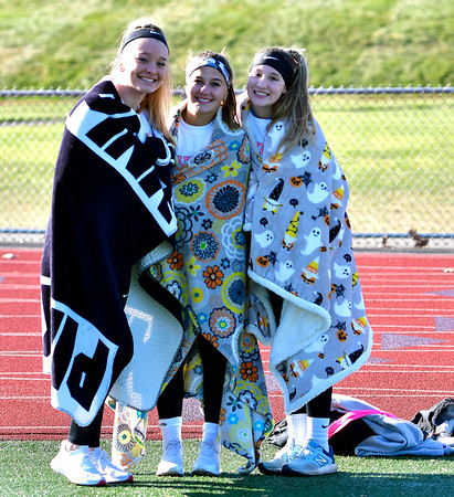 11/23/2019 Mike Orazzi | Staff Bristol Central High School juniors Lexi Michaud, Sadye Kowalczyk and Jadyn Bauer during Saturday's Powder Puff football game.