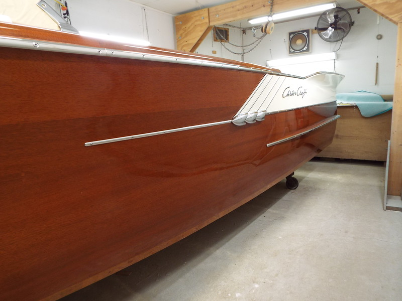 Port side with fin hardware and side trim installed.