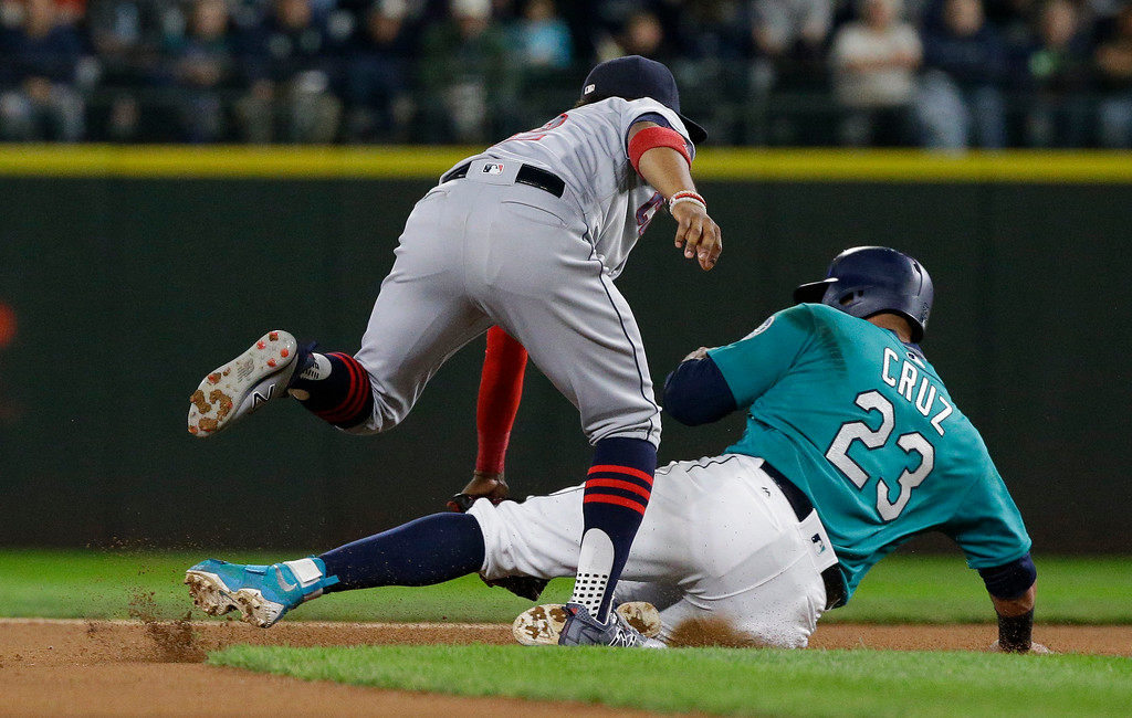 . Seattle Mariners\' Nelson Cruz is tagged out by Cleveland Indians shortstop Francisco Lindor as he attempts to steal second base in the fourth inning of a baseball game, Friday, Sept. 22, 2017, in Seattle. (AP Photo/Ted S. Warren)