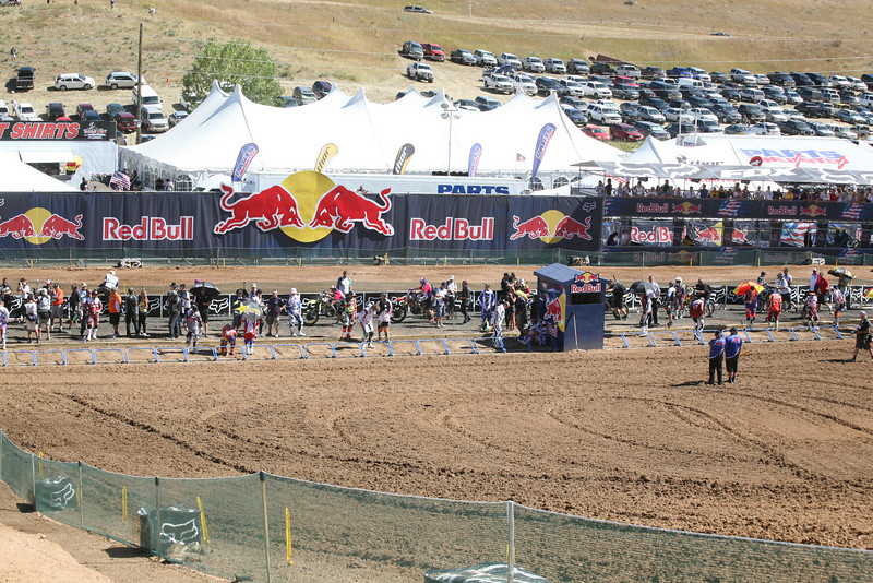 The riders picking their gates for the first moto on Sunday. Canard picked the 4th gate from the inside.