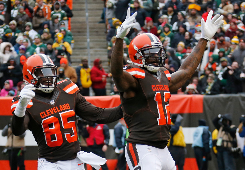 . Cleveland Browns wide receiver Josh Gordon (12) celebrate with David Njoku after Gordon scored on an 18-yard touchdown pass in the first half of an NFL football game against the Green Bay Packers, Sunday, Dec. 10, 2017, in Cleveland. (AP Photo/Ron Schwane)