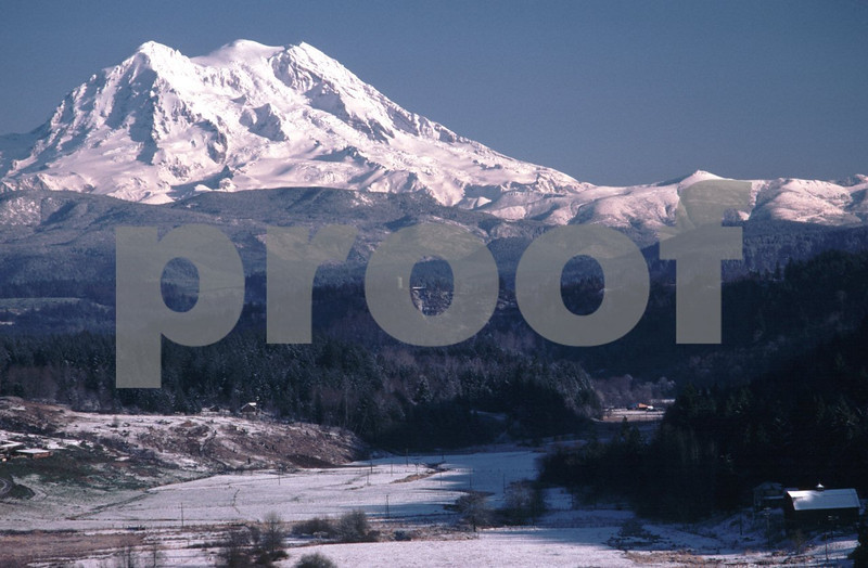 Mt. Rainier and the Ohop Valley in the winter.