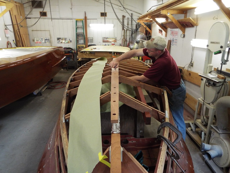 Another view of the keel being glued.