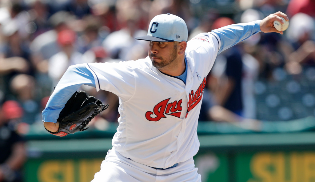 . Cleveland Indians relief pitcher Oliver Perez delivers in the sixth inning of a baseball game against the Minnesota Twins, Sunday, June 17, 2018, in Cleveland. (AP Photo/Tony Dejak)