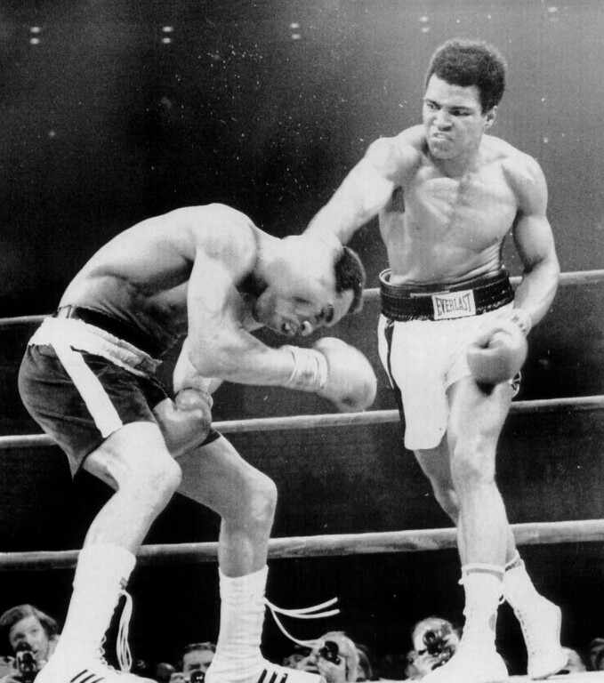 . Muhammad Ali delivers a vicious right chop to the head of ken Norton 9/10. Ali, the former heavyweight champion came back to win a split decision in the 12-round rematch. Ali was defeated 5 ½  months ago by Norton in San Diego. 1973. Denver Post Library photo archive