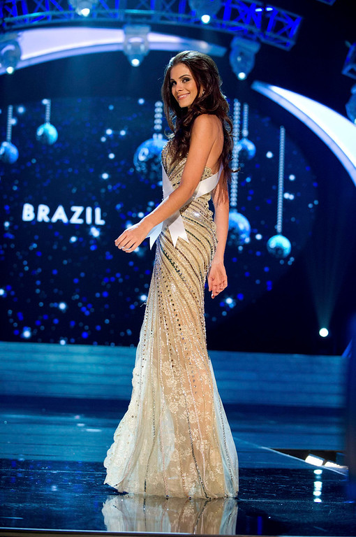 . Miss Brazil 2012 Gabriela Markus competes in an evening gown of her choice during the Evening Gown Competition of the 2012 Miss Universe Presentation Show in Las Vegas, Nevada, December 13, 2012. The Miss Universe 2012 pageant will be held on December 19 at the Planet Hollywood Resort and Casino in Las Vegas. REUTERS/Darren Decker/Miss Universe Organization L.P/Handout