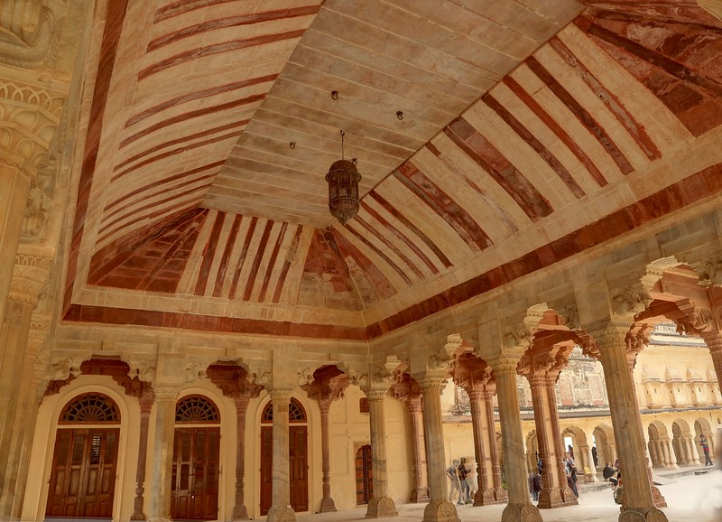 The Diwan-i-Aam or the Public Audience Hall is decorated with 27 colonnades, each of which is mounted with an elephant-shaped capital - Amer Fort, Jaipur