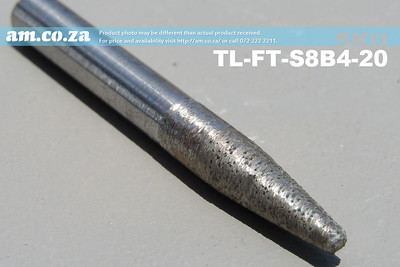 TL-FT-S8B4-20 , 8mm Tapered Ball Nose (4mm) Granite Stone Router Bit with 20mm Fine Grit, Full Length ⩾60mm